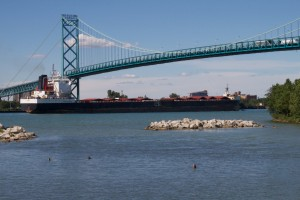 Big Ships Passing Under The Ambassador Bridge
