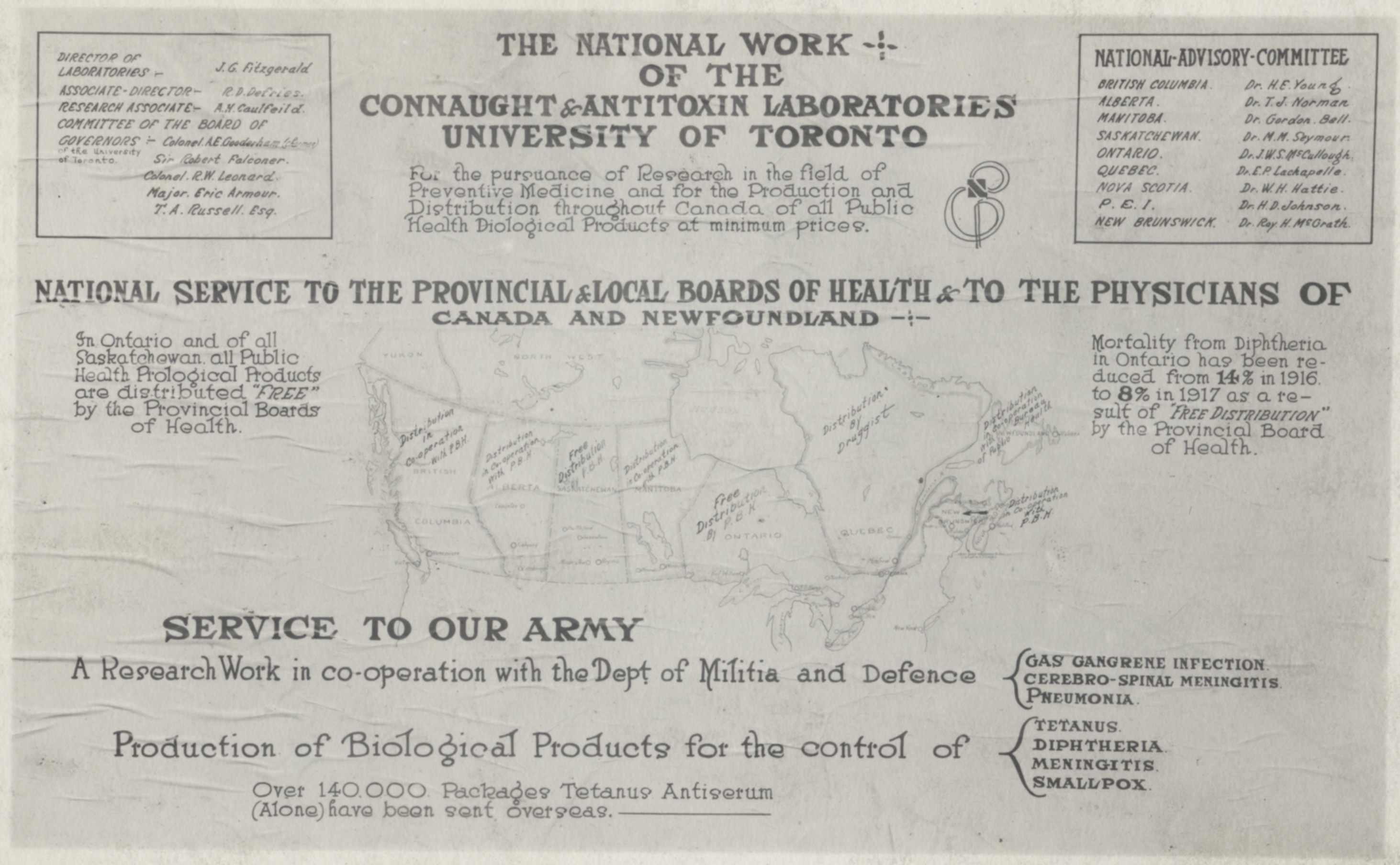 """Epidemic Influenza"" placards, such as this one posted in Alberta, were a common site in Canada during the 1918–19 ""Spanish Flu"" pandemic. But news of Connaught Labs' efforts to produce an ""experimental"" influenza vaccine brought some hope in the face of the pandemic's relentless death toll, and helped to solidify a national public health role for the Labs."