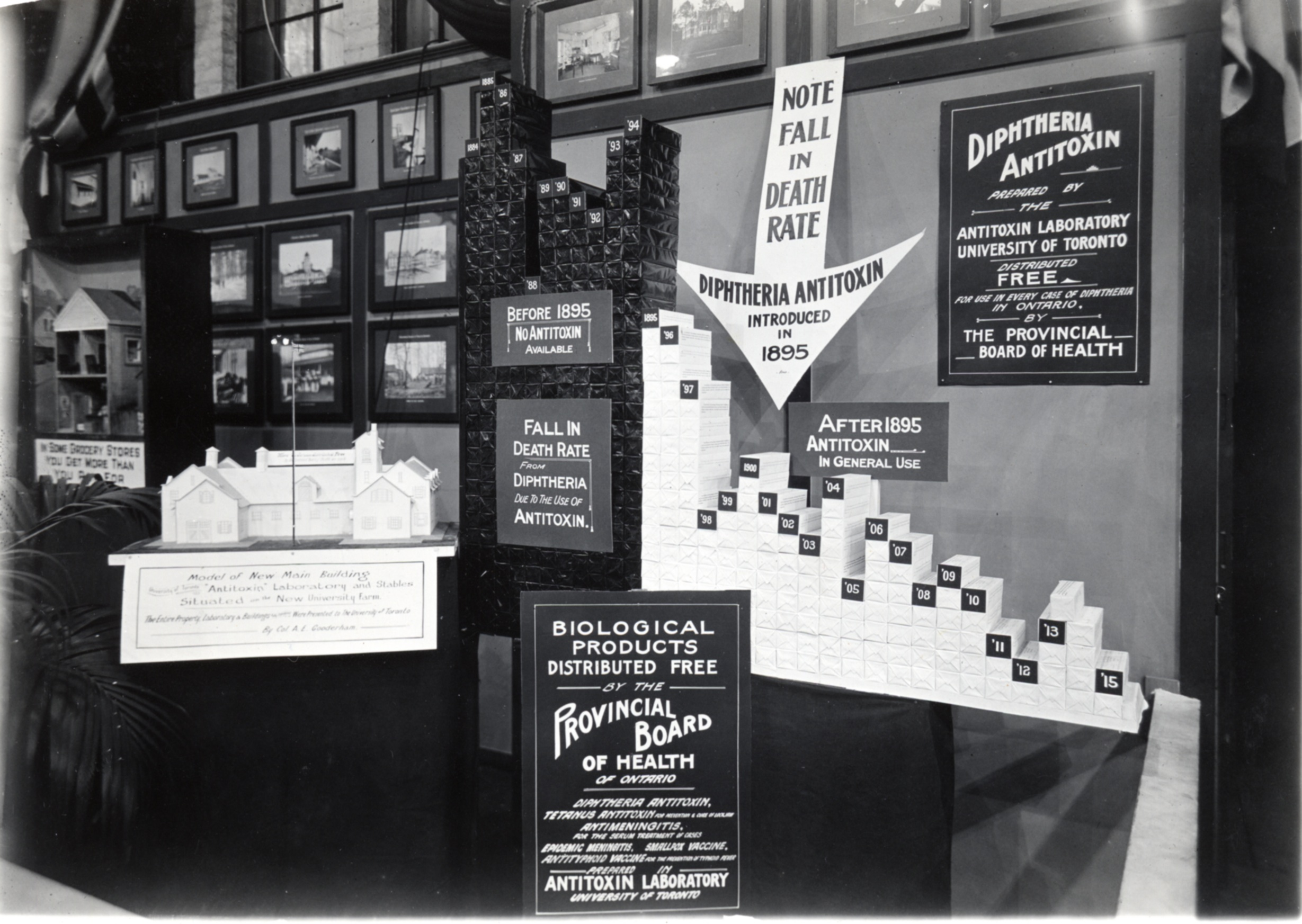 Ontario Provincial Board of Health exhibit at the Canadian National Exhibition during the summer of 1916, promoting the impact of diphtheria antitoxin on death rates and the free availability of diphtheria antitoxin produced by the Antitoxin Laboratory.