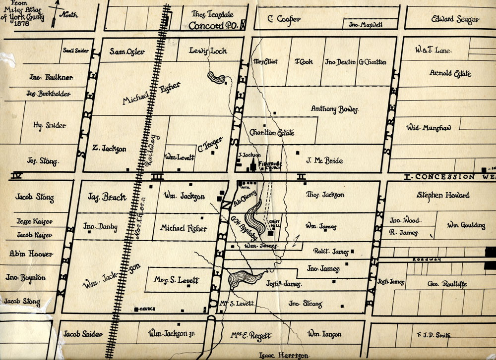 York County map drawn in 1878, with the future Connaught Laboratories Farm site at the centre, just east of Dufferin Street and south of I-Concession (Steeles Ave. W. today) in the village of Fisherville.