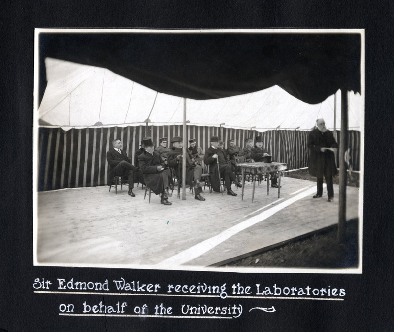 Photos and newspaper coverage of the official opening of the Connaught Antitoxin Laboratories and University Farm on October 25, 1917. Among the dignitaries attending were Sir Edmund Walker, Chairman of the U of T Board of Governors; The Duke of Devonshire, Governor General of Canada and successor to the Duke of Connaught; Ontario Premier W.H. Hearst; Sir Robert Falconer, President of U of T; and Dr. J.W.S. McCullough, Ontario Chief Medical Officer of Health. These officials were joined by FitzGerald and Gooderham.