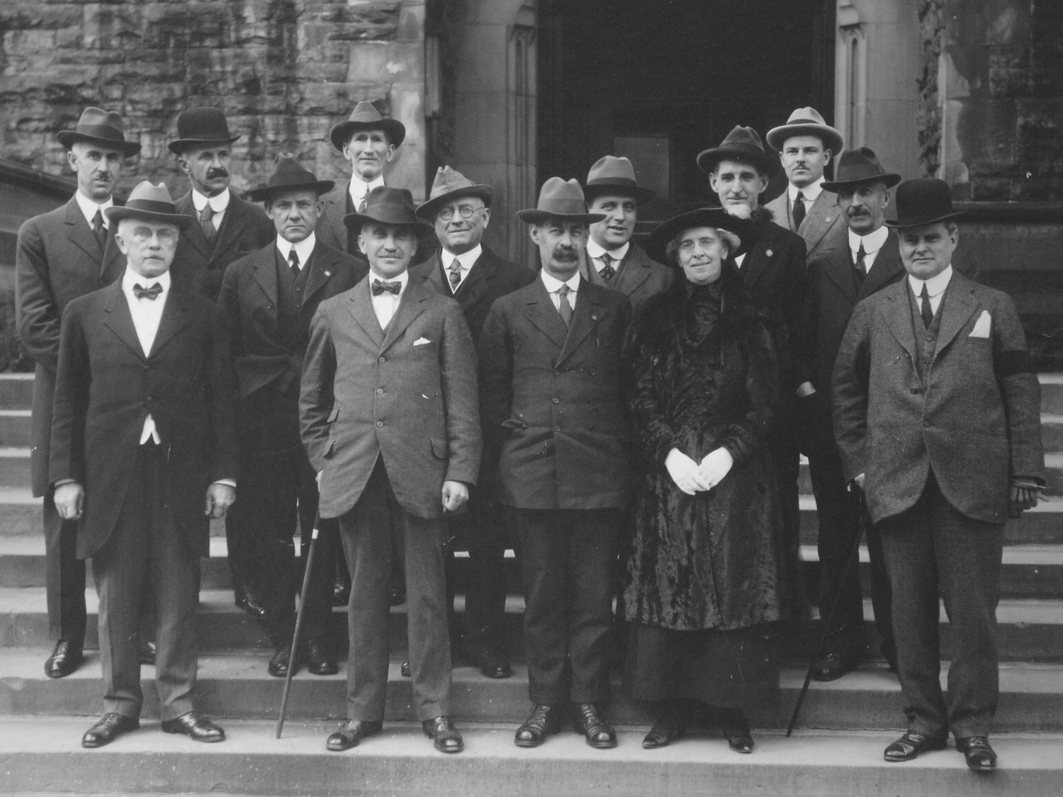 Members of the Dominion Council of Health at their first meeting, held October 7-9, 1919, consisting of provincial deputy ministers of health, the federal deputy minister of health, representatives of labour, women's groups, social service agencies and universities, including Dr. FitzGerald, standing in the rear row, third from the right.