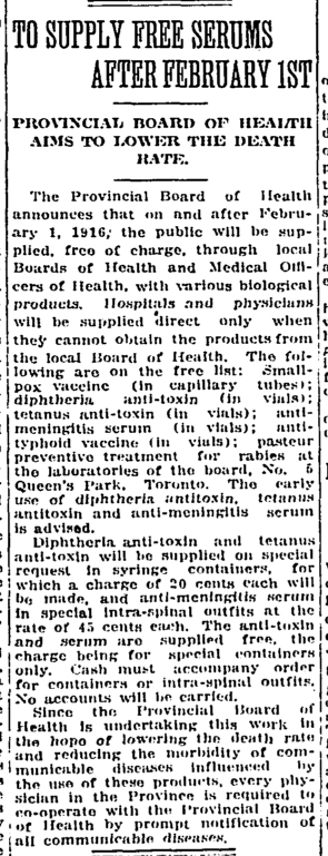 Clipping from The Globe of January 7, 1916, announcing the Ontario Provincial Board of Health's intention to provide essential public health products from the Antitoxin Laboratory for free.