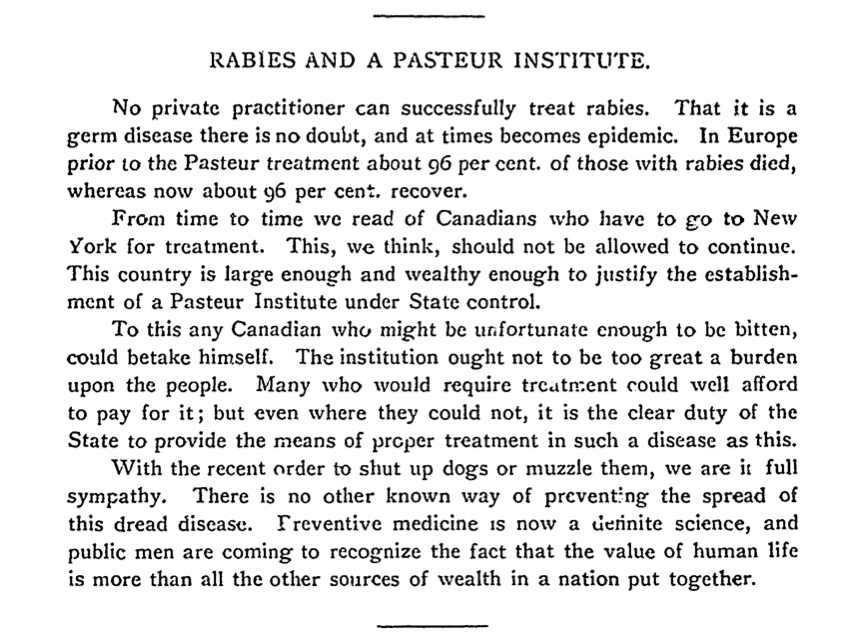 Rabies and a Pasteur Institute