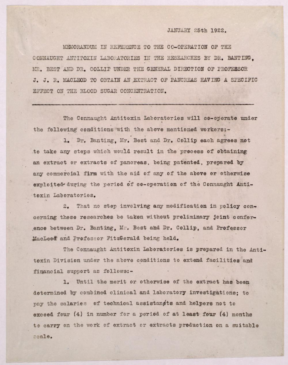 Text of the agreement made between Connaught Laboratories and Macleod, Banting, Best and Collip, dated January 25, 1922.