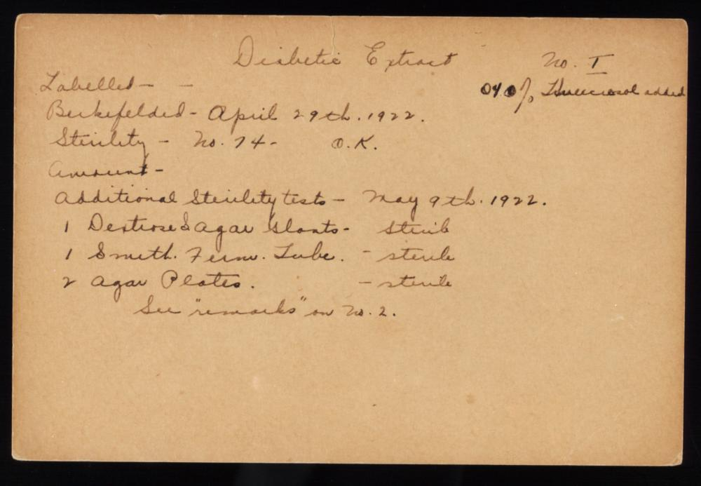 "A Connaught Laboratories ""Diabetes Extract"" test record card from April to May 1922."