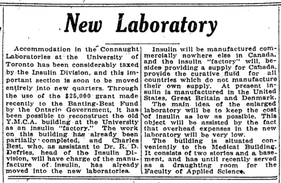 Clipping from The Globe on August 1, 1923 announcing the establishment of Connaught's new laboratory to accommodate an insulin factory.