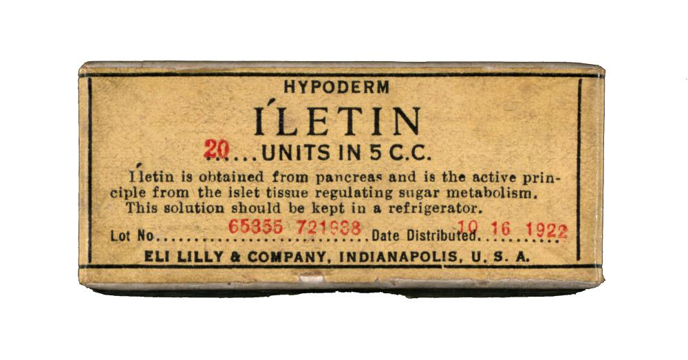 "Package of Eli Lilly's ""Iletin"" produced in October 1922. Eli Lilly used ""Iletin"" as its brand name for insulin, despite concerns from the U of T Insulin Committee."