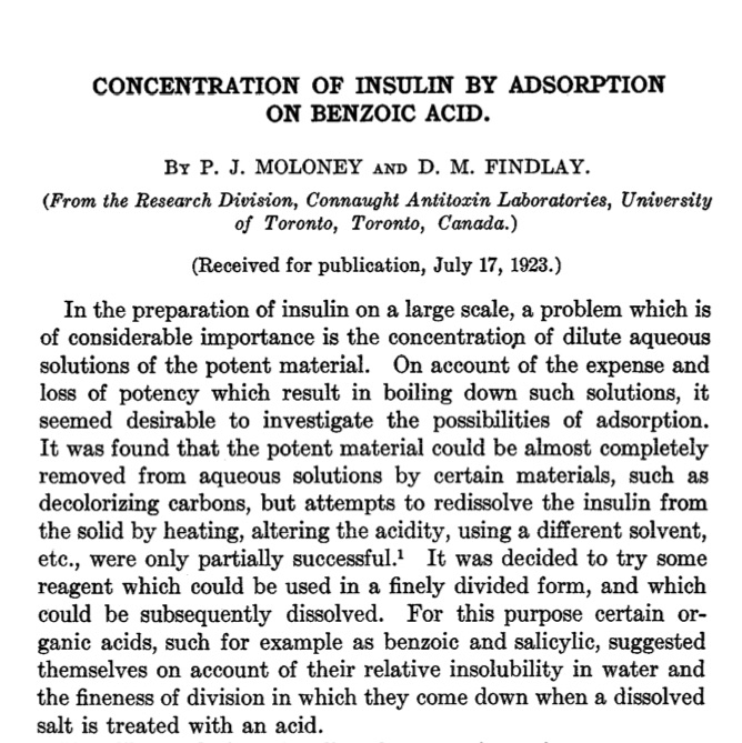 "First paragraph of Peter Moloney's article (written with D.M. Finlay) on the ""Concentration of Insulin by Adsorption on Benzoic Acid,"" published in The Journal of Biological Chemistry in 1923."