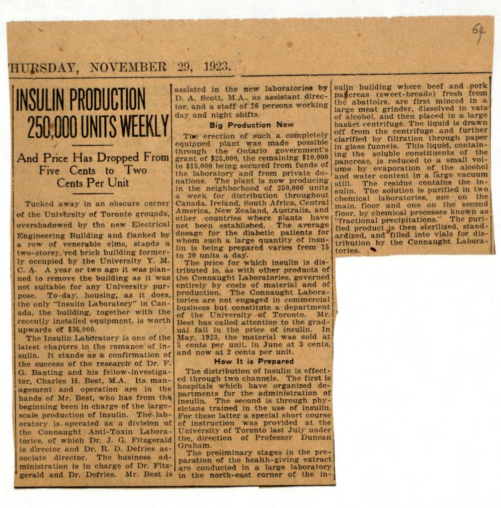 Toronto Star newspaper clipping from November 29, 1923, describing Connaught Labs' insulin production facility and its output.