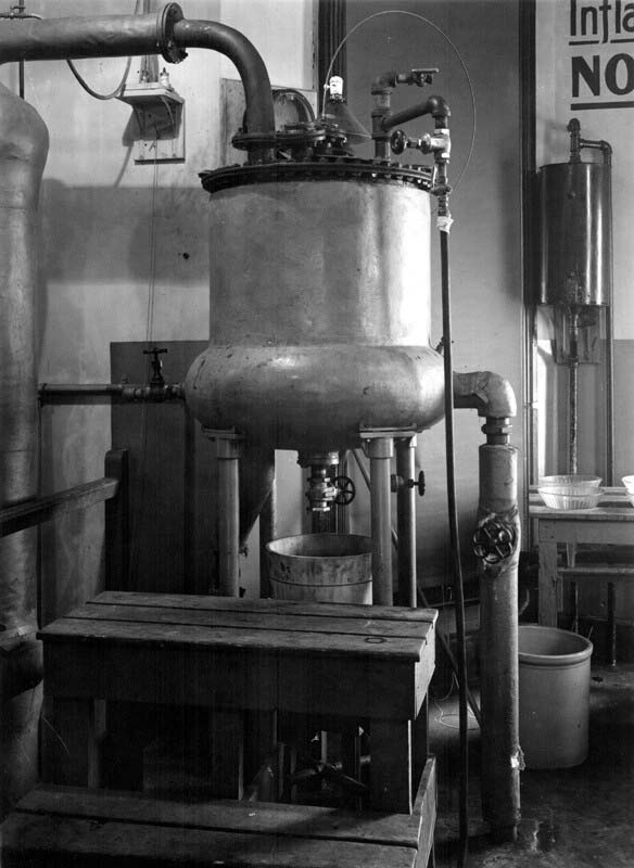 Insulin extraction still, Connaught Laboratories Insulin Building, December 1923.