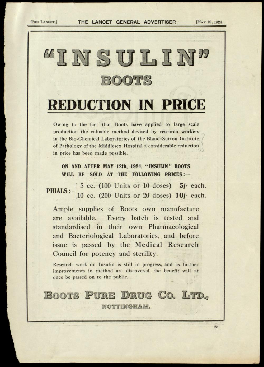 Advertisement from May 10, 1924, for Insulin Boots, produced by Boots Pure Drug Co. Ltd. of Nottingham, England, announcing the company's plans for price reductions.
