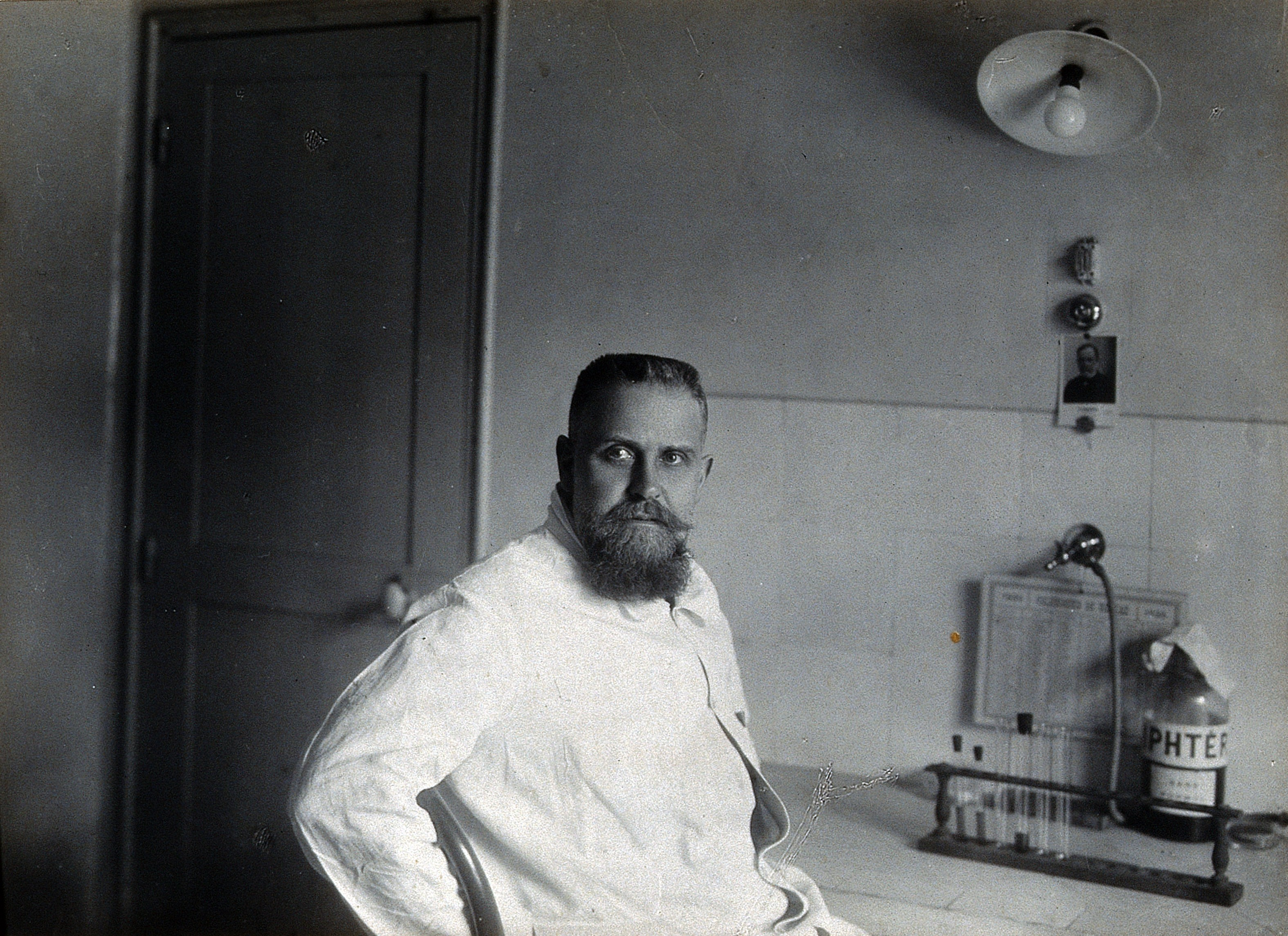 Dr. Gaston Ramon in his laboratory at the Pasteur Institute in Paris, c. 1920s.