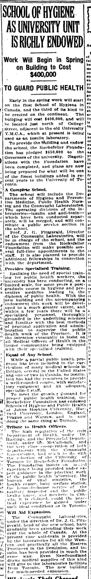 February 17, 1925, newspaper clipping announcing plans for the School of Hygiene at the University of Toronto and its endowment by the International Health Board of the Rockefeller Foundation.