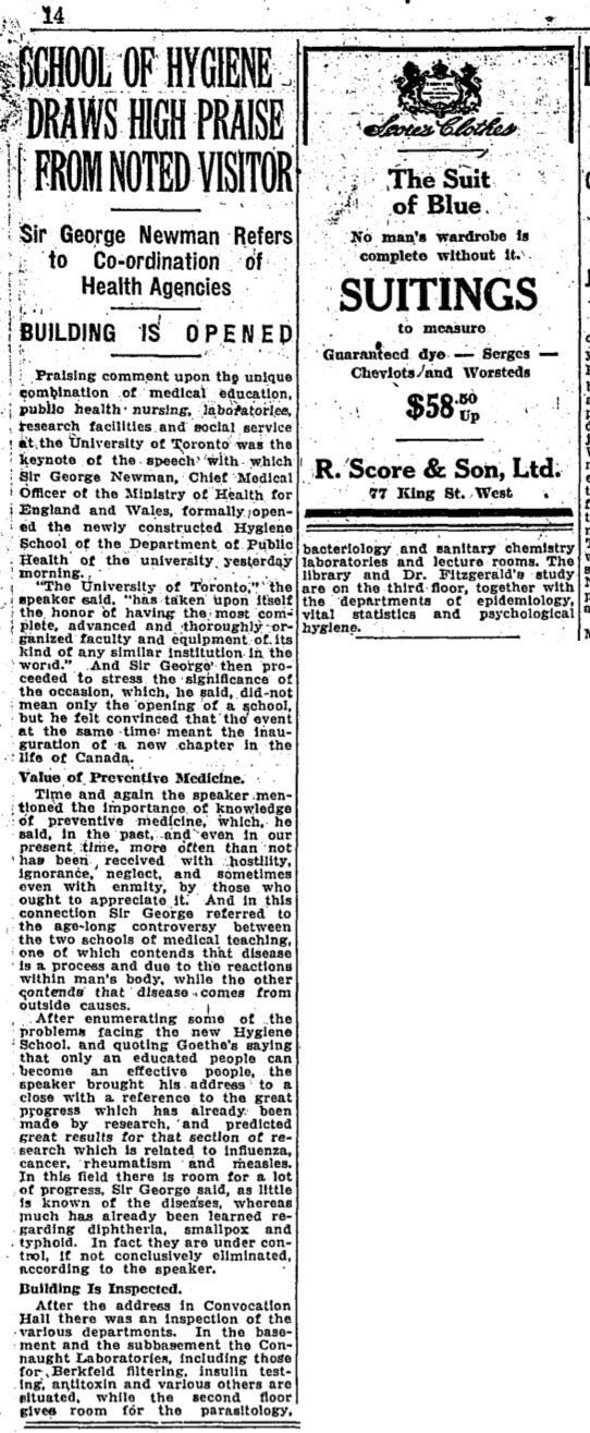 Newspaper clipping from June 10, 1927 describing the official opening of the School of Hygiene.