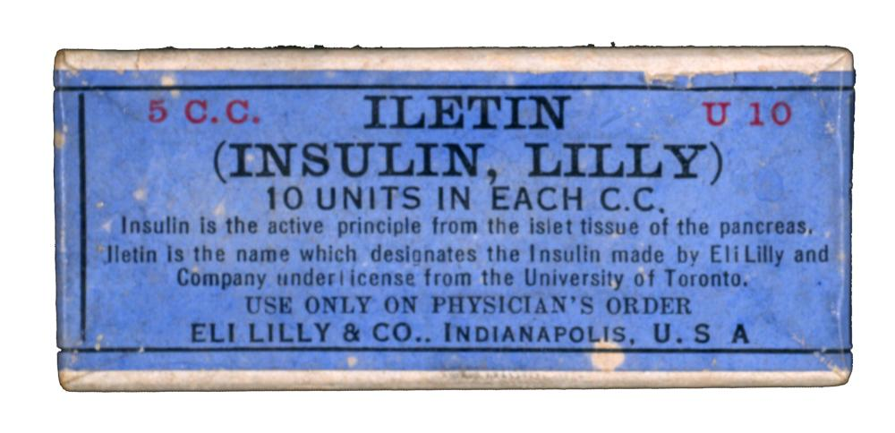 Package of Iletin (Insulin, Lilly), produced by Eli Lilly in late 1923.