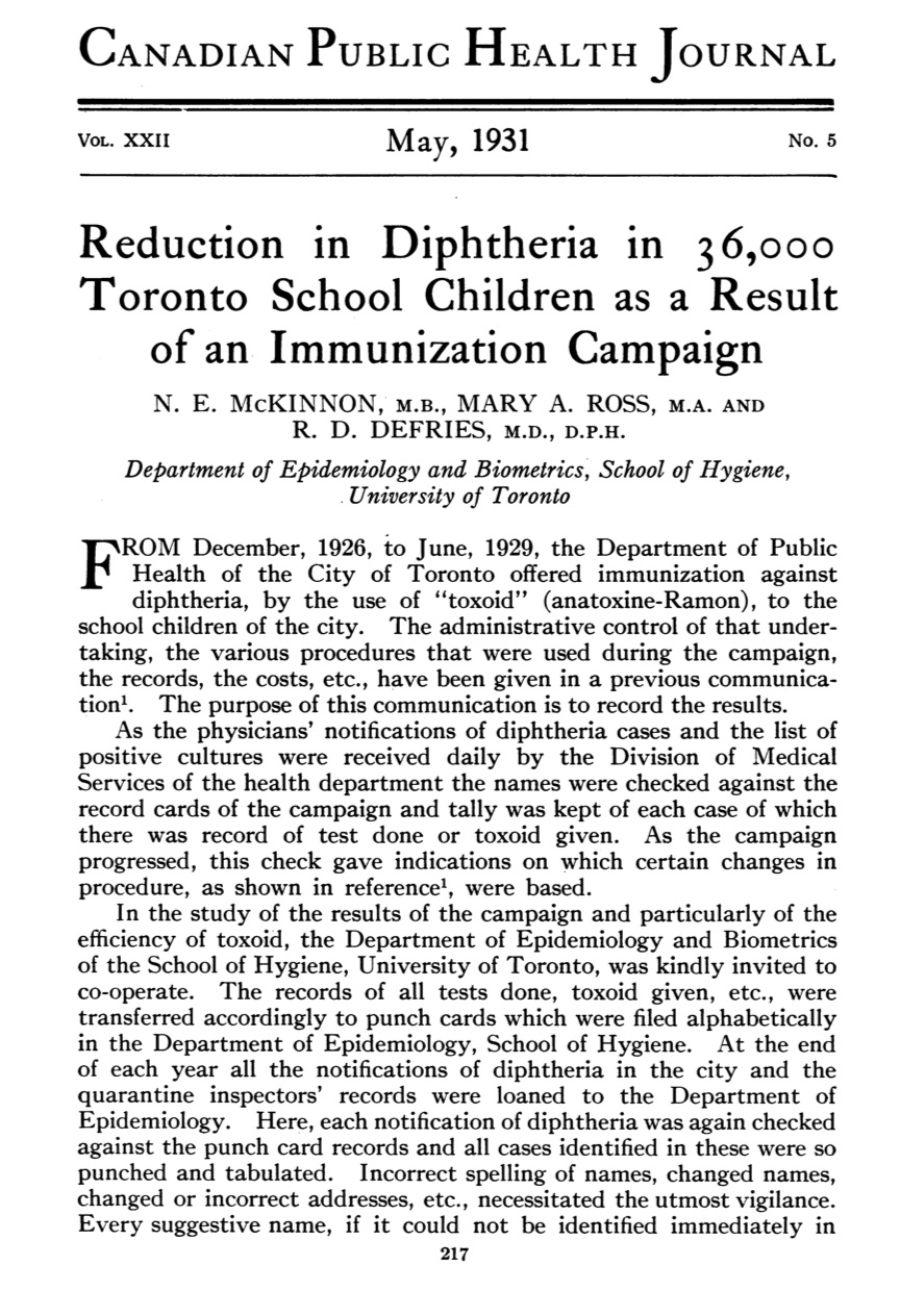 First page of a landmark article in the May 1931 issue of the Canadian Public Health Journal detailing the Toronto field trial of diphtheria toxoid during 1926-1929)