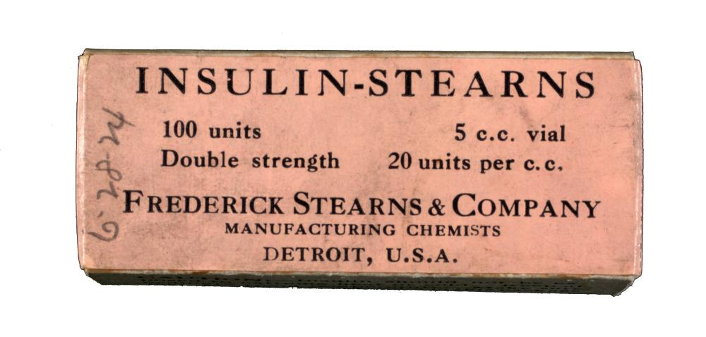 Package of Insulin-Stearns, produced in June 1924. Frederick Stearns & Co. of Detroit was among several U.S. pharmaceutical firms licensed by the University of Toronto Insulin Committee to produce insulin starting in 1924 after Eli Lilly's exclusive insulin development arrangement with the Insulin Committee ended.
