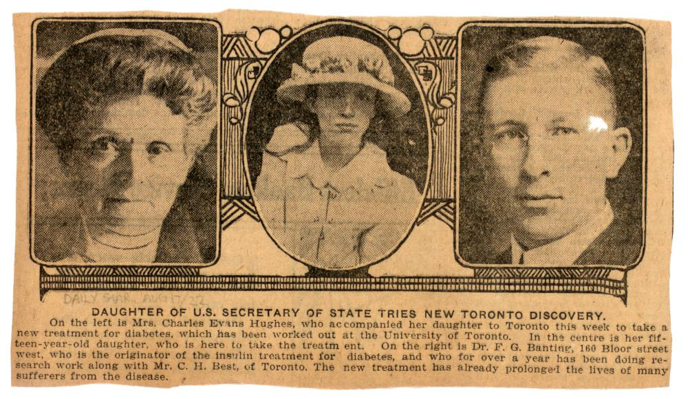 Toronto Star newspaper clipping from August 17, 1922, highlighting Elizabeth Hughes and her personal treatment with insulin by Dr. Frederick Banting.