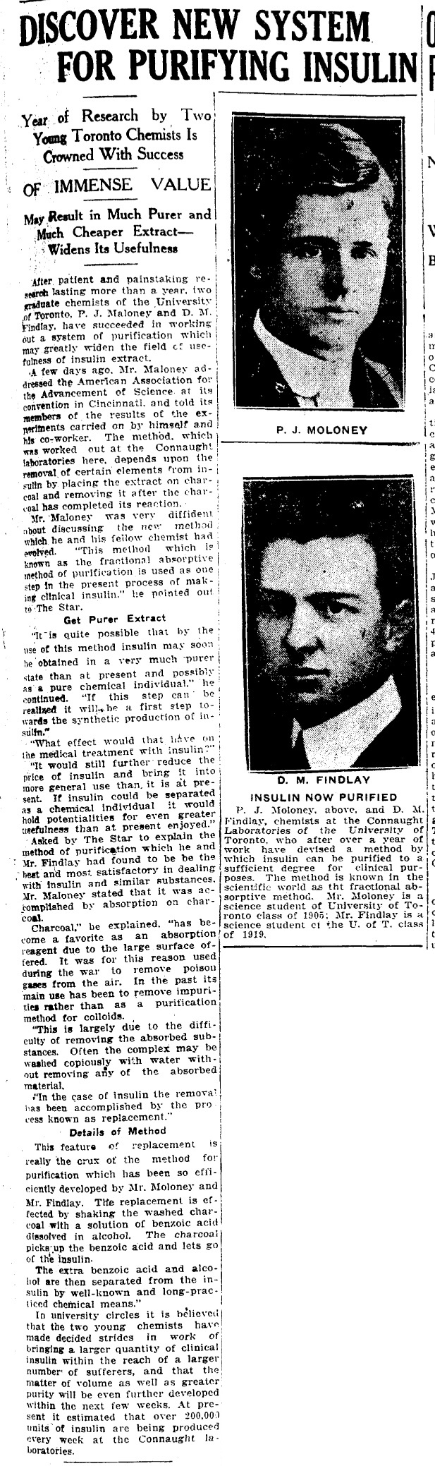 Toronto Star clipping from January 5, 1924, telling the story of Dr. Peter Moloney's new insulin purification method that he developed with D.M. Finlay.