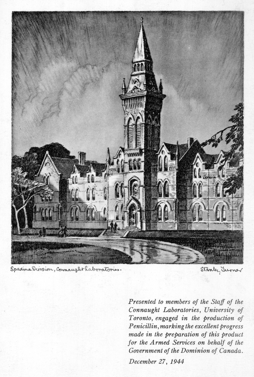 When the urgent order of penicillin for the Canadian military was completed, the size of the staff was reduced; upon leaving in December 1944, these staff were given a thank you card by the Labs with a specially commissioned sketch of the Spadina Building by artist Stanley Turner.