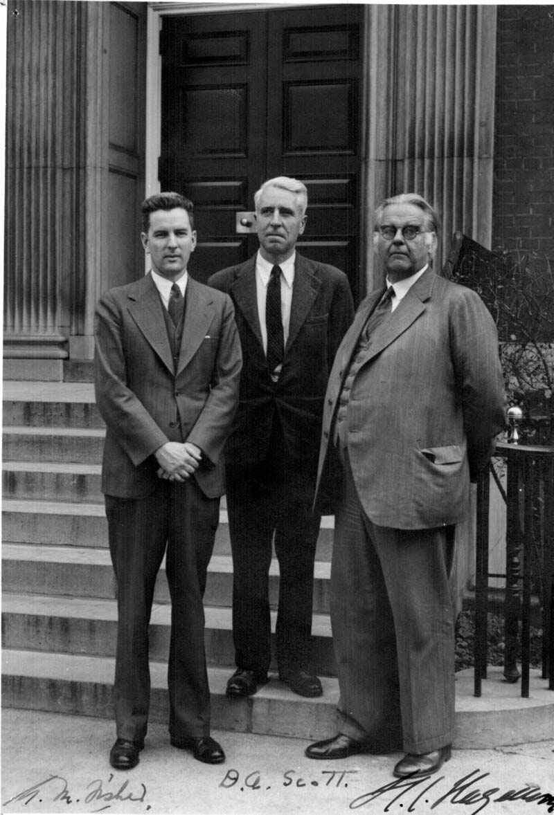 Co-discoverers of Protamine Zinc Insulin (left to right), Dr. Albert M. Fisher, Dr. David A. Scott, and Dr. H.C. Hagedorn of Nordisk Laboratories, during a visit to the School of Hygiene Building in 1952.
