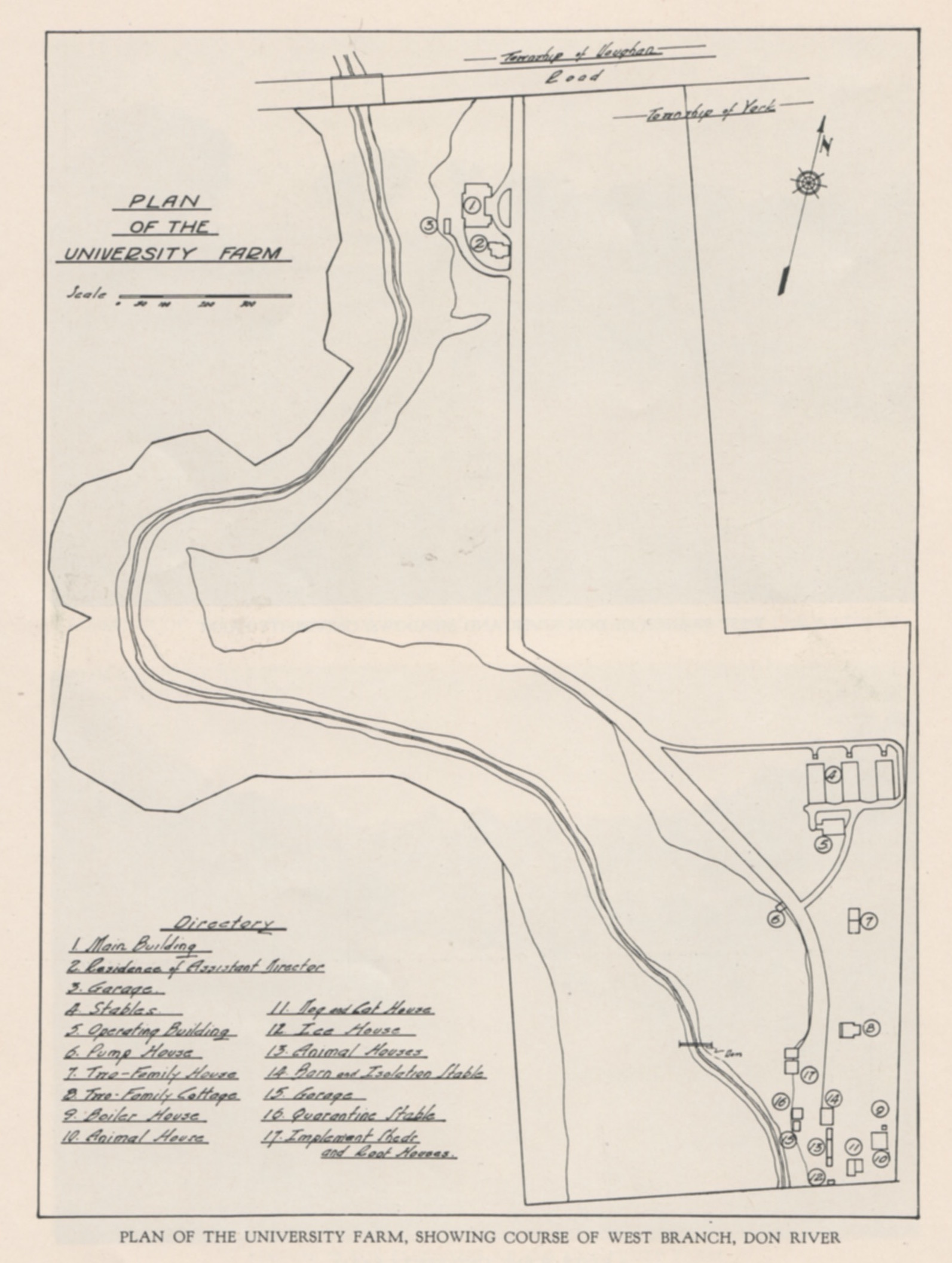 """Map of the Connaught Laboratories """"University Farm"""" site in 1930; the Township of Vaughan Road today is Steeles Avenue West. Note in the map's """"Directory"""" the new buildings: Stables (4), Operating Building (5), and Two-Family House (7)."""