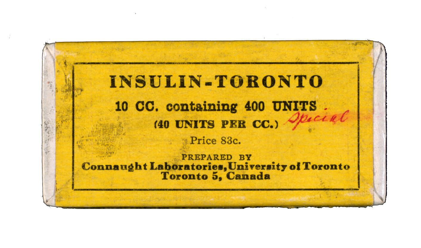 "Package of ""Insulin – Toronto,"" produced by Connaught Laboratories in 1932."