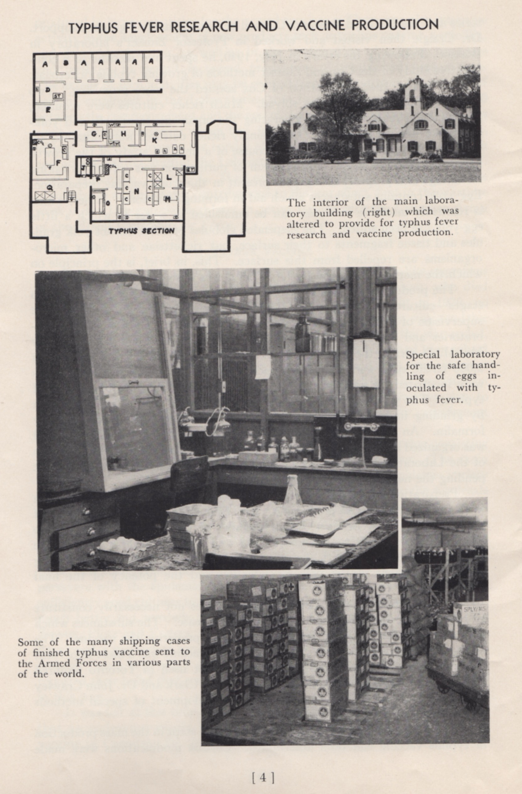 "Photos showing Connaught's typhus vaccine research and production, which was based at the original laboratory building of the Labs' Farm site. Image scanned from Connaught's ""Wartime Work 1939-1945"" booklet."
