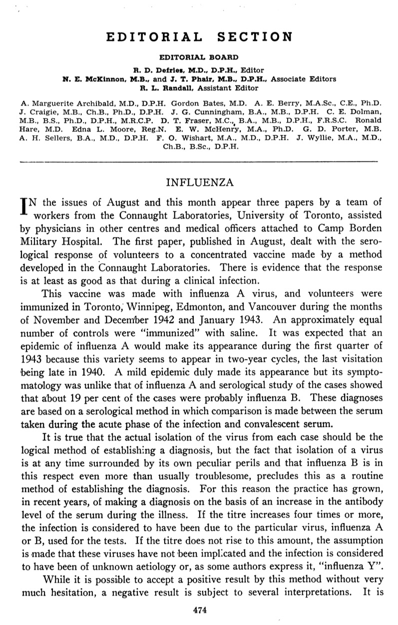 This Editorial published in the October 1943 issue of the Canadian Journal of Public Health summarizes the development and production of influenza vaccine at Connaught Labs, and its clinical testing in several parts of Canada and among soldiers at Camp Borden during influenza outbreaks. The full article is available at: http://healthheritageresearch.com/clients/docs/Editorial-Influenza-CJPH-1943-10-v34n10-p474-75.pdf