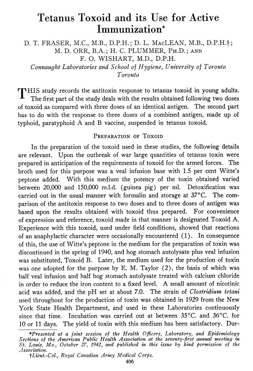Dr. Edith Taylor's key work in developing a new culture medium for the production of tetanus toxin is noted in the first page of this article published in the September issue of the Canadian Journal of Public Health, originally presented at the 1942 annual meeting of the American Public Health Association.