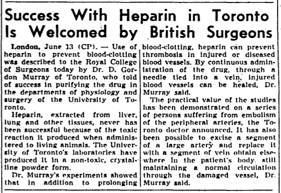 Globe & Mail newspaper clipping from June 14, 1939, highlighting the progress made in Toronto by Dr. Gordon Murray with the surgical use of heparin.