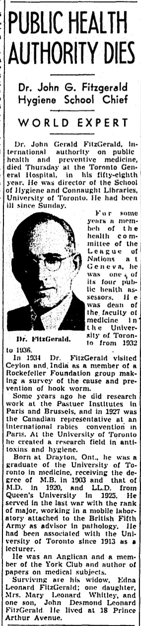 "Clipping from the June 22, 1940 edition of The Globe & Mail, reporting the death of Dr. J.G. FitzGerald in his 58th year, and only noting that ""he had been ill since Sunday""."