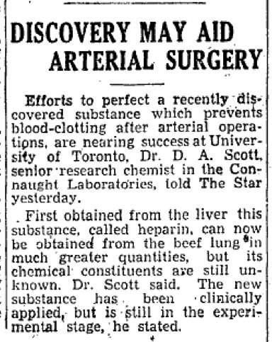 Toronto Star newspaper clipping from February 27, 1936, highlighting the progress being made by Dr. David Scott with heparin production and purification at Connaught Laboratories.