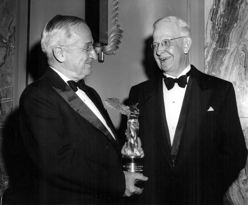 On November 17, 1955, Dr. Robert D. Defries received the American Public Health Association's prestigious Albert Lasker Award from former U.S. President Harry S. Truman