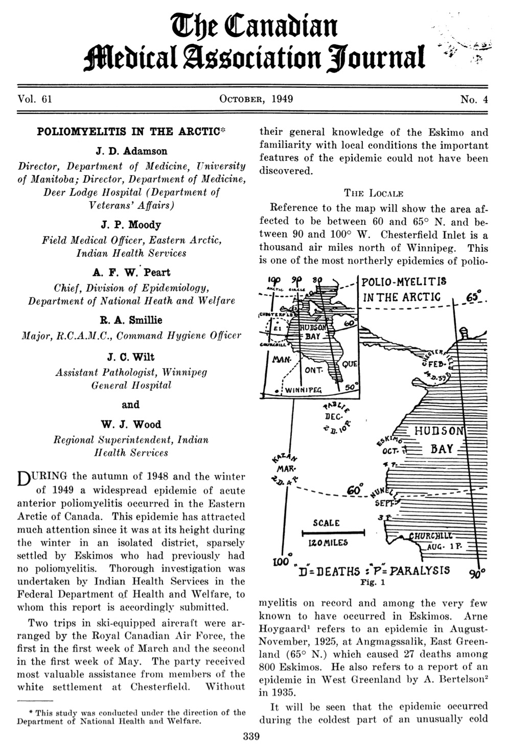 Opening page of a detailed report in the October 1949 issue of the Canadian Medical Association Journal on the major Arctic polio epidemic that struck the Chesterfield Inlet area during the winter of 1948-49. The full article is available at https://www.ncbi.nlm.nih.gov/pmc/articles/PMC1591690/pdf/canmedaj00637-0002.pdf