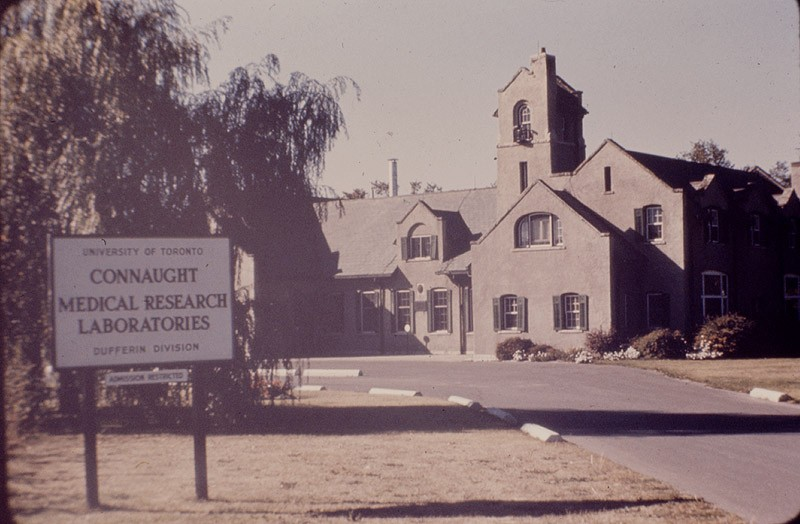 Main entrance to the Dufferin Division of Connaught Medical Research Laboratories, Steeles Avenue West, just east of Dufferin Street, York Township, c. late 1940s-early 1950s)