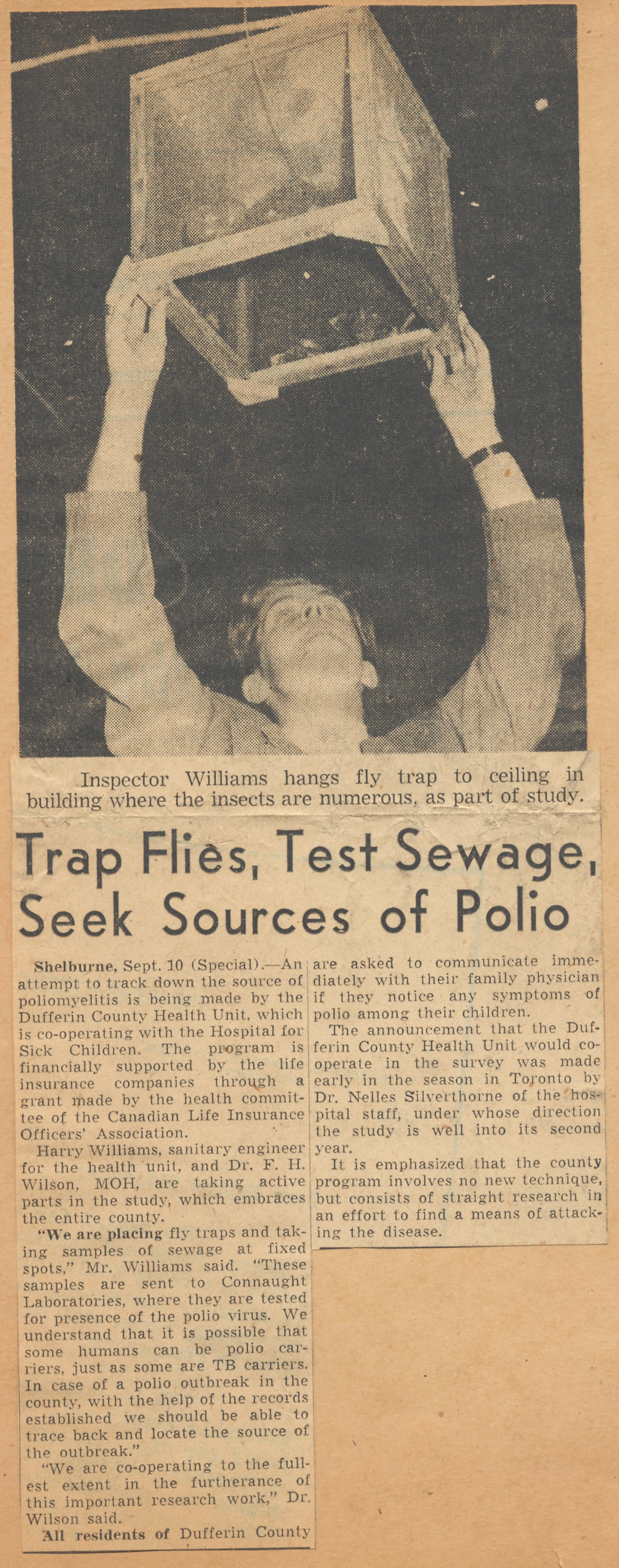 Globe and Mail newspaper clipping from Sept. 11, 1948, describing Dr. Rhodes' polio research, which was focused on tracing the poliovirus in sewage water and possibly in flies. This research was in collaboration with the Hospital for Sick Children and funded by the Canadian Life Insurance Officers Association