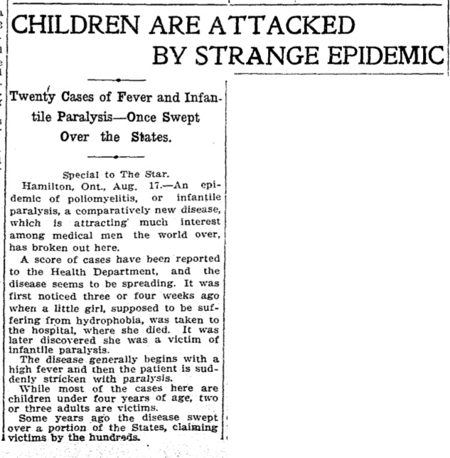 This front page article in the Toronto Star on Aug. 17, 1910, captures the fear and mystery of polio during one of its first significant outbreaks in Canada
