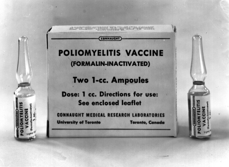 Poliomyelitis Vaccine, Formalin-Inactivated, otherwise known as Salk Inactivated Poliovirus Vaccine, or IPV, Connaught Medical Research Laboratories, University of Toronto, 1959.