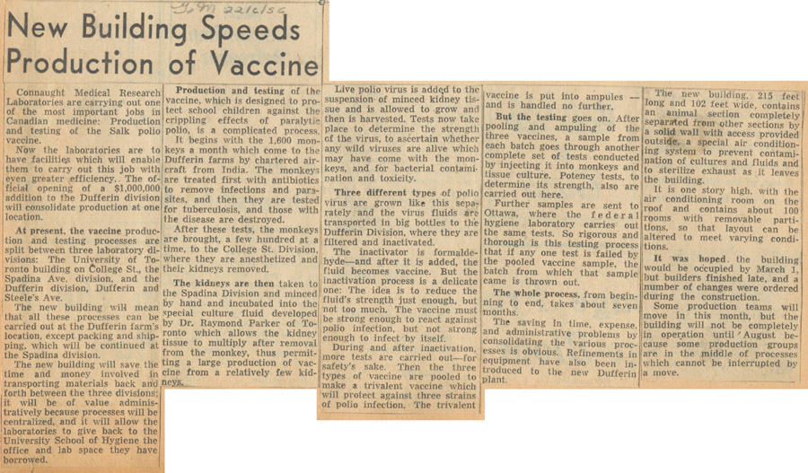 Newspaper clipping from the Globe and Mail of June 22, 1956 describing Connaught's new Polio Building and the Salk polio vaccine production and testing process.