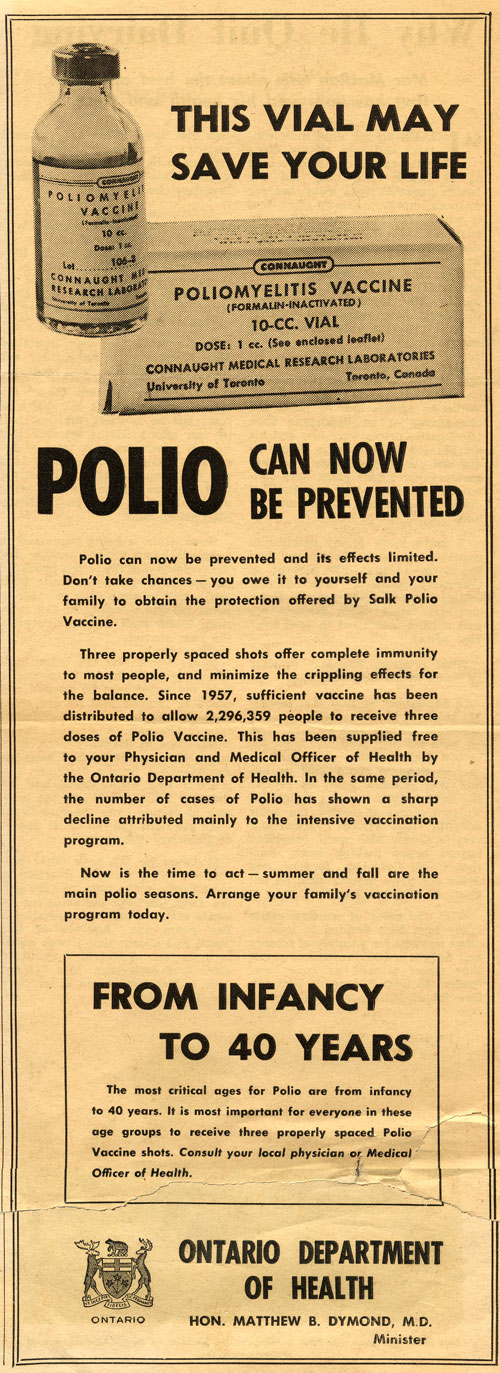 "To promote the need for a broader age range of polio immunization, ""from infancy to 40 years,"" the Ontario Department of Health issued this notice to newspapers in 1958."