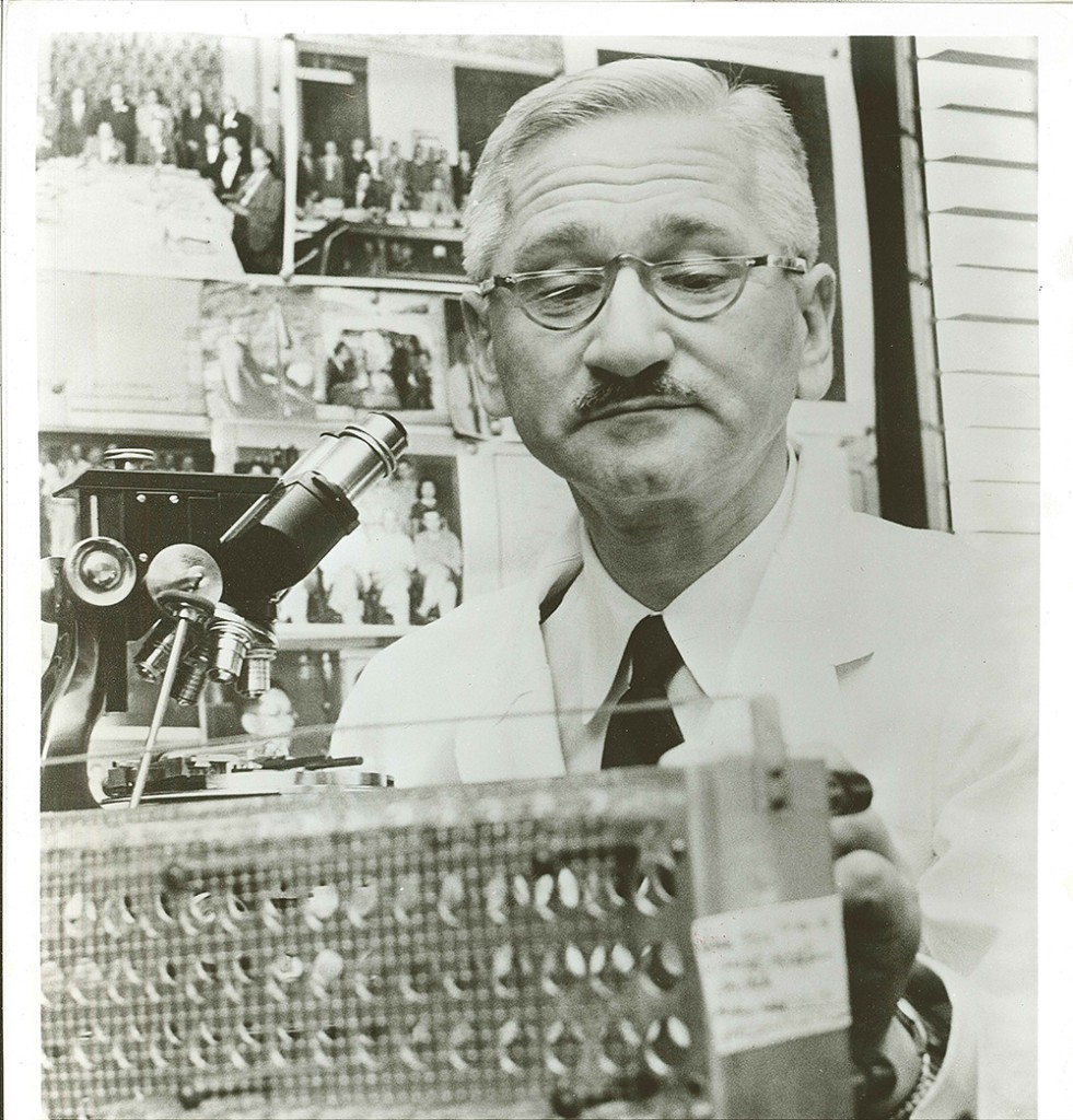Dr. Albert B. Sabin (1906-1993) was born in Poland and emigrated to the U.S. in 1930. He received his M.D. in 1931 and later developed his research skills, particularly focused on infectious diseases, at the Rockefeller Institute for Medical Research in New York City. In 1939, he moved to Cincinnati Children's Hospital, where he was based when he began his poliovirus studies in the early 1950s, focusing on cultivating attenuated, or weakened, strains to prepare a live vaccine.