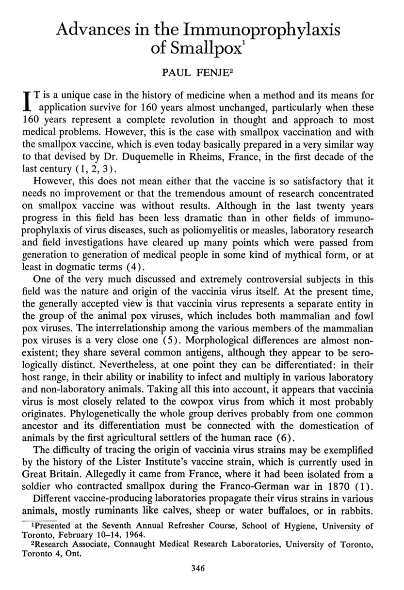 "First page from Paul Fenje's article, ""Advances in the Immunoprophylaxis of Smallpox,"" published in the August 1964 edition of the Canadian Journal of Public Health"