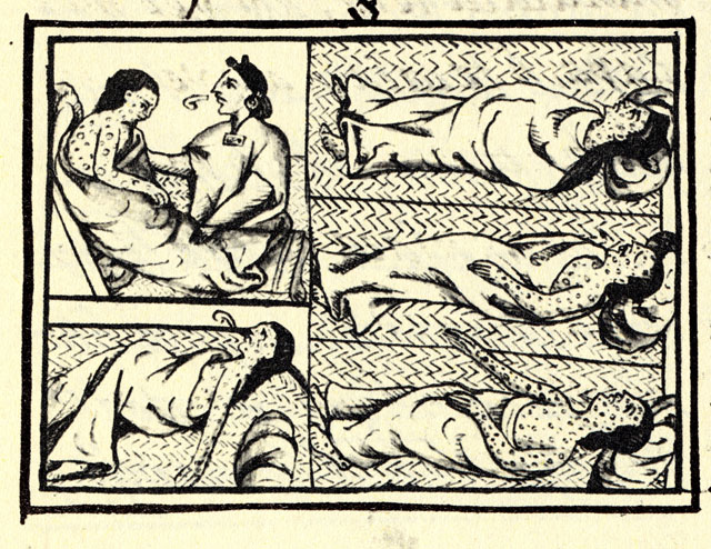 16th century Aztec drawing showing smallpox victims.