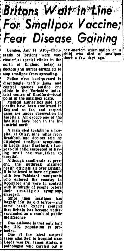 Clipping from the Globe & Mail of January 15, 1962, describing the smallpox scare and long waits at vaccination clinics in the United Kingdom after two immigrants from Pakistan arrived in London just before being diagnosed with smallpox.