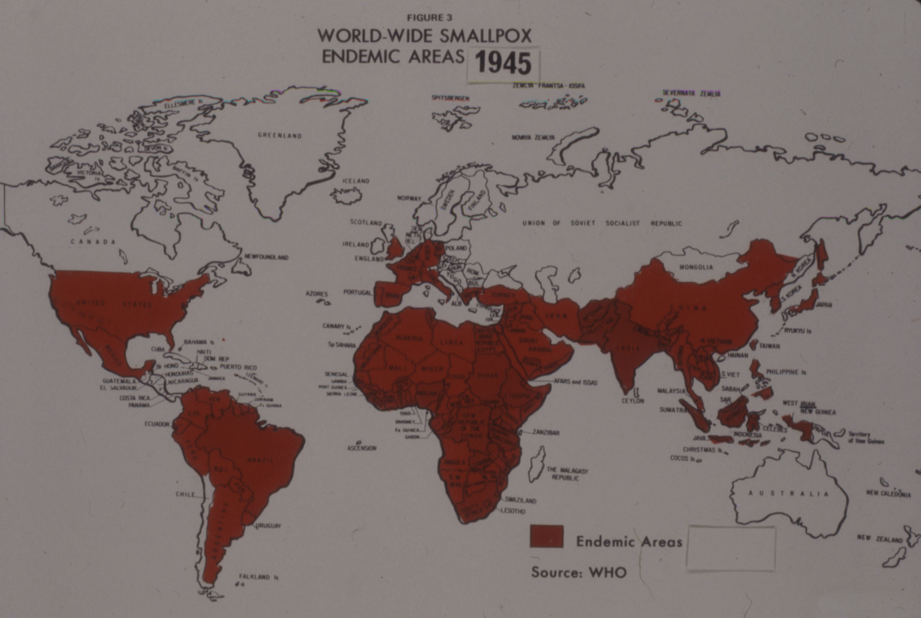World map showing areas where smallpox was endemic in 1945.
