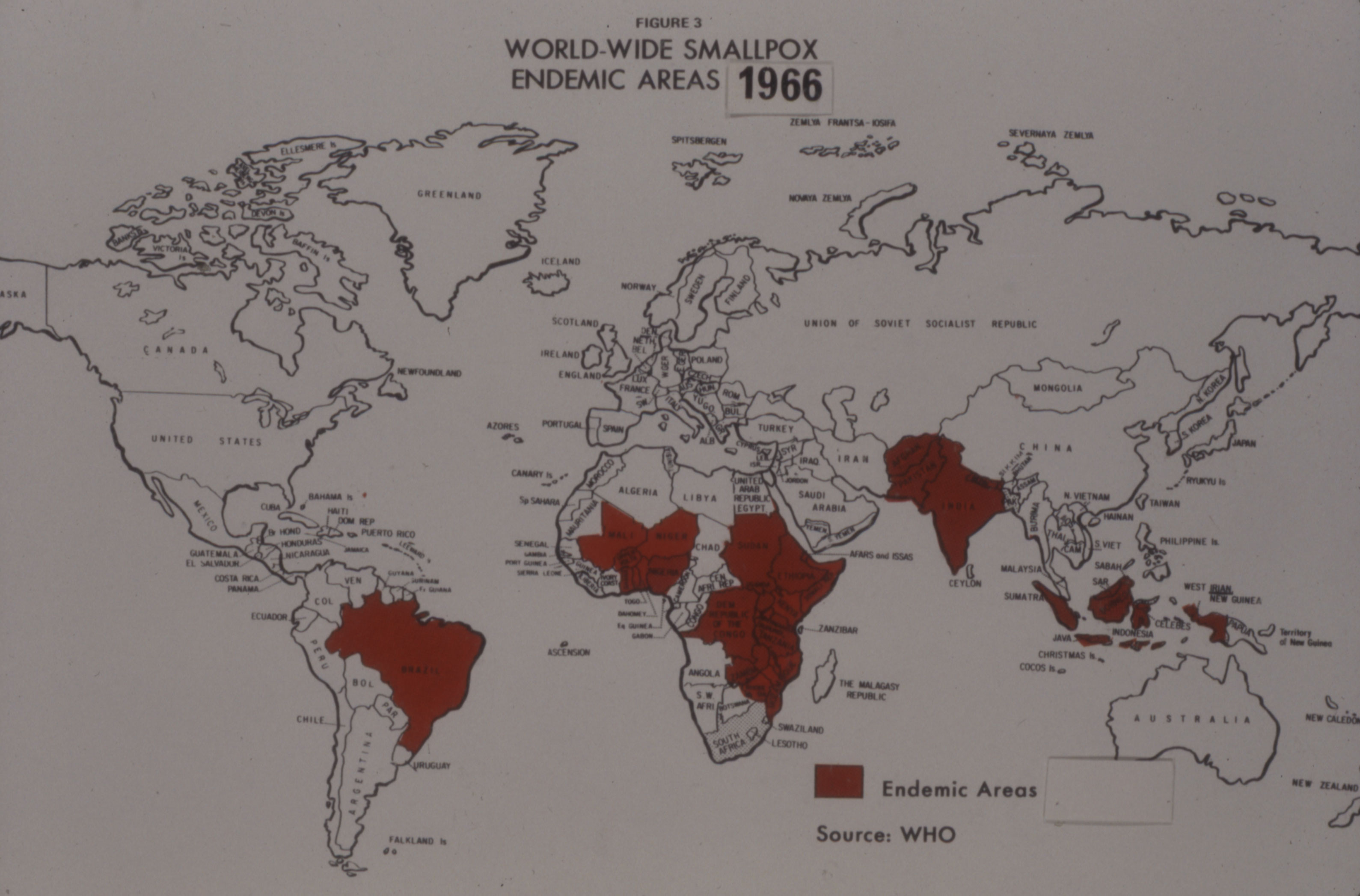 World map showing areas where smallpox was endemic in 1966.