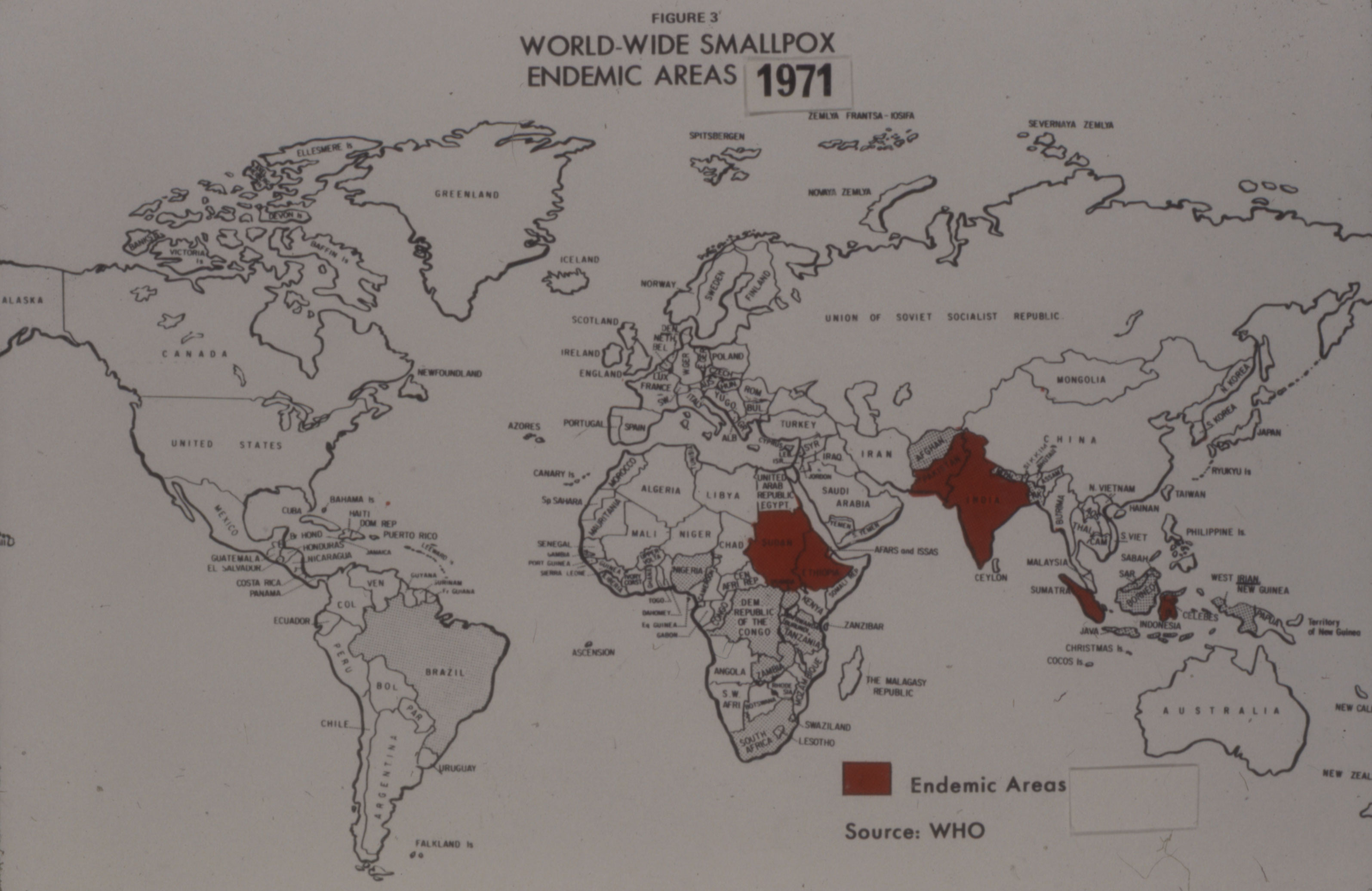 World map showing areas where smallpox was endemic in 1971.