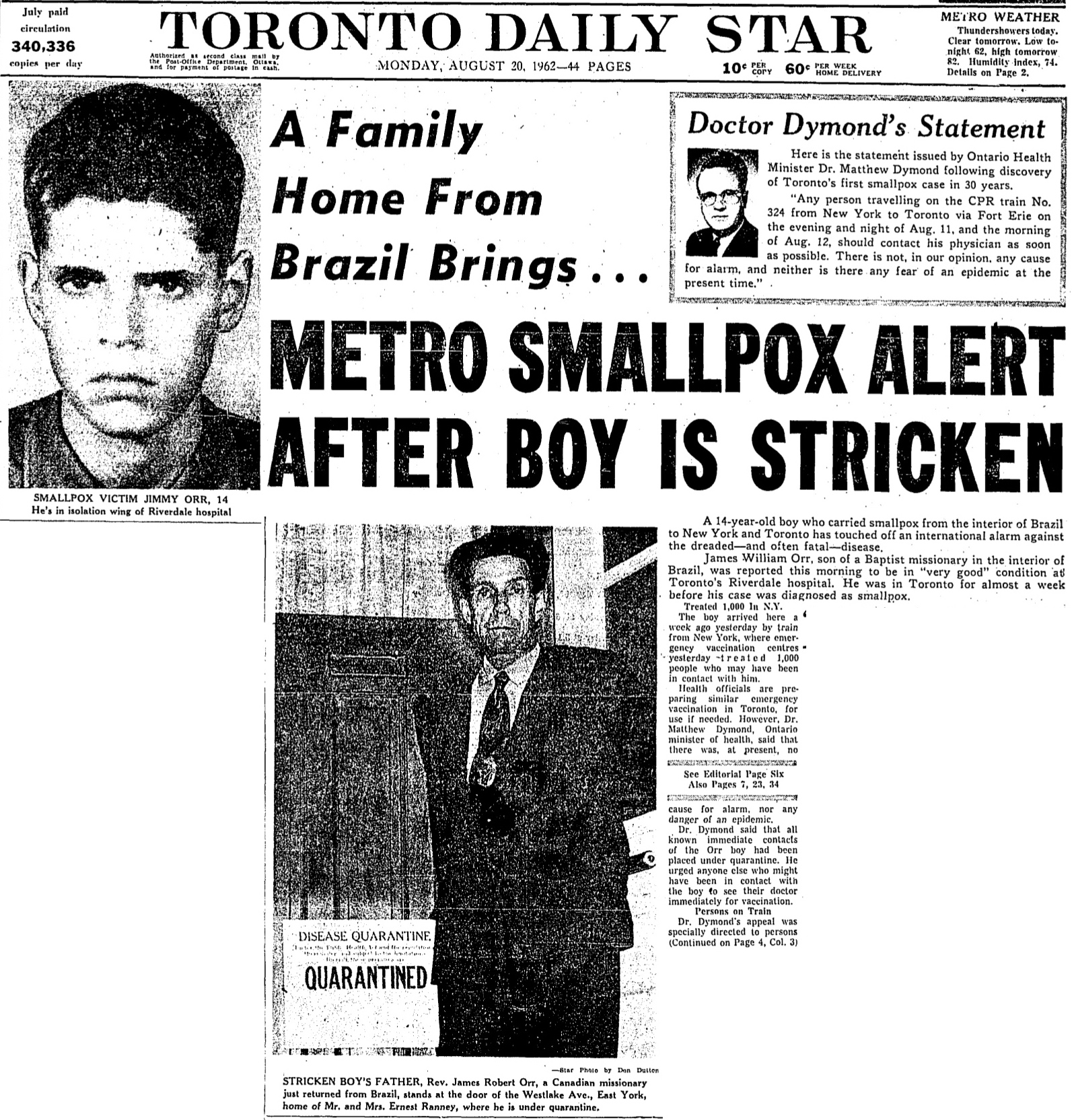 The confirmation of Jimmie Orr's smallpox case sparked considerable press attention in the August 20, 1962 edition of the Toronto Star.